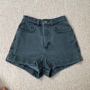 Black high waist denim shorts